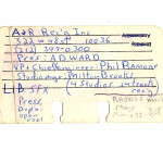 My A & R Rolodex Card from 1979.